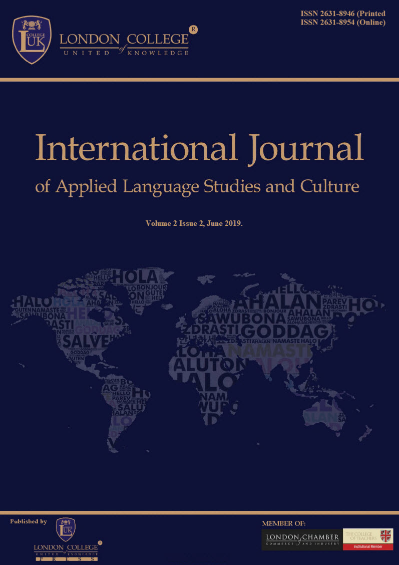 View Vol. 3 No. 2 (2020): THE INTERNATIONAL JOURNAL OF APPLIED LANGUAGE STUDIES AND CULTURE (IJALSC)